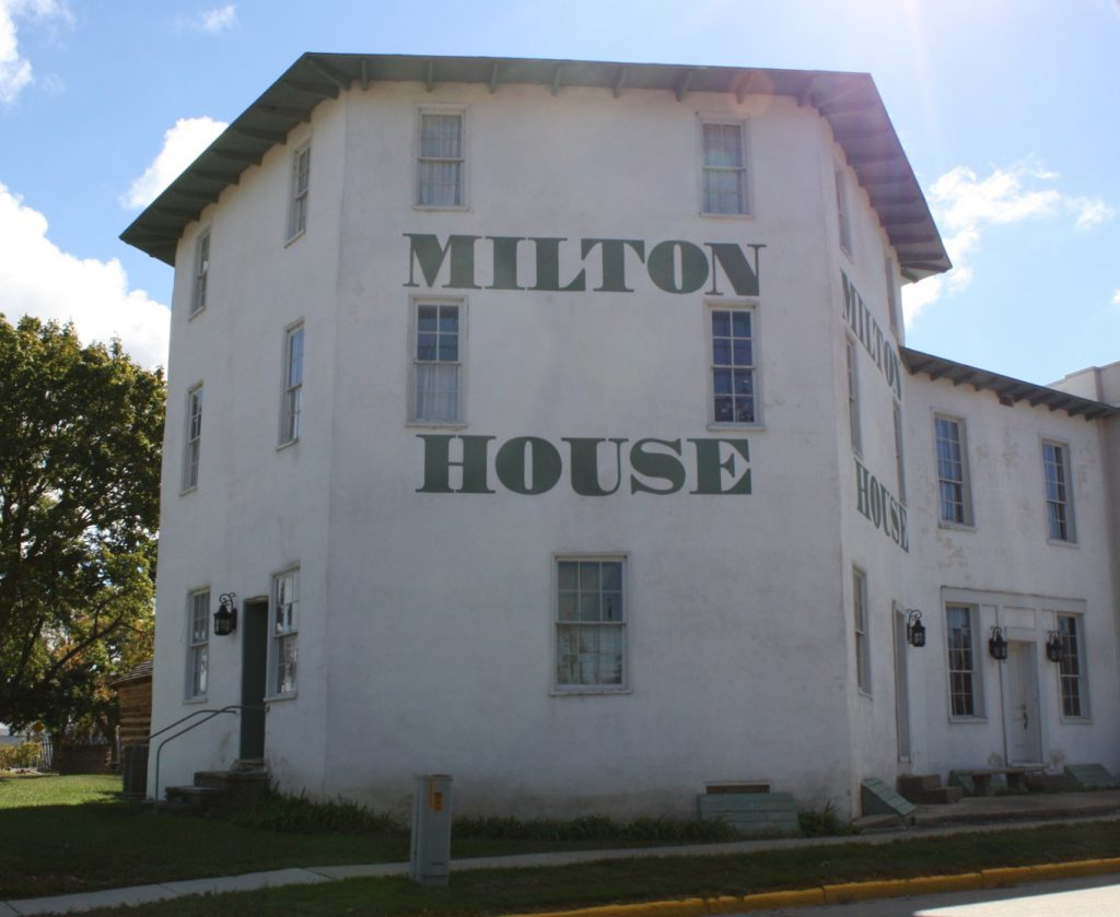 historic campsites in Wisconsin - Milton House front elevation on a sunny day.