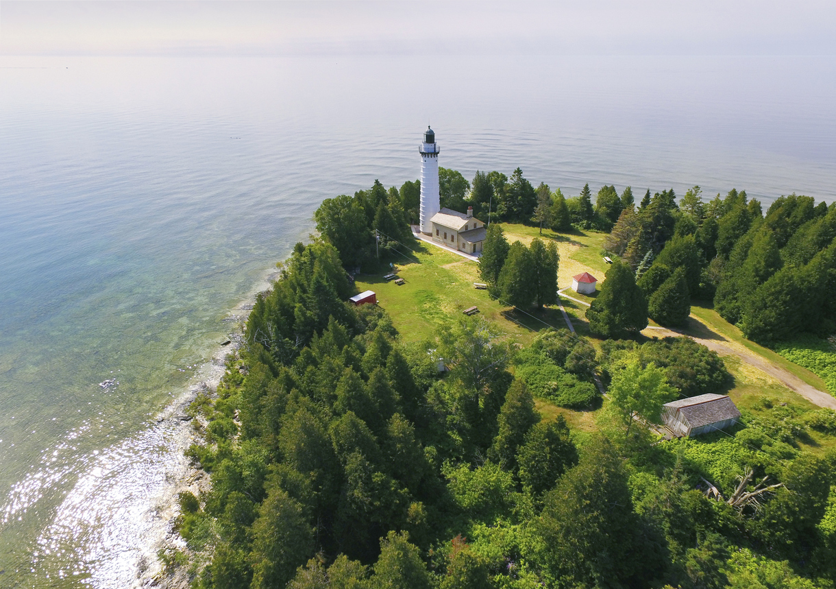 Great Lakes campgrounds - Cana Island Lighthouse on Lake Michigan, Door County Wisconsin